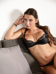 Horny Brunette Lady In Sexy Black Lingerie