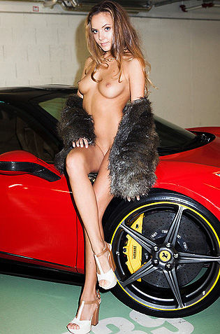 Sensual Beauty Clover With A Red Ferrari