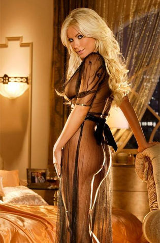 Blonde Babeon Her See Thru Gown