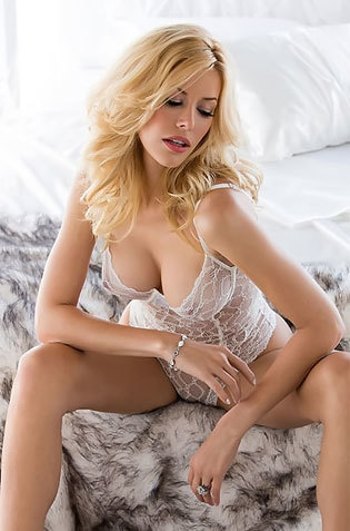 Blonde Babe On Her White See Thru Lingerie