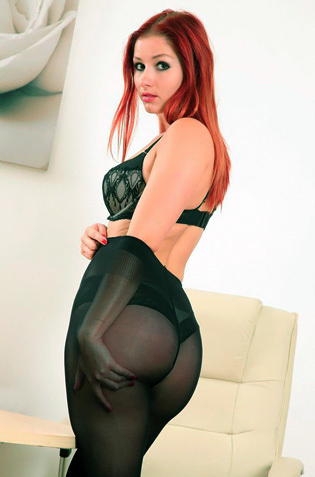 Redhead Babe Harley In Black Pantyhose
