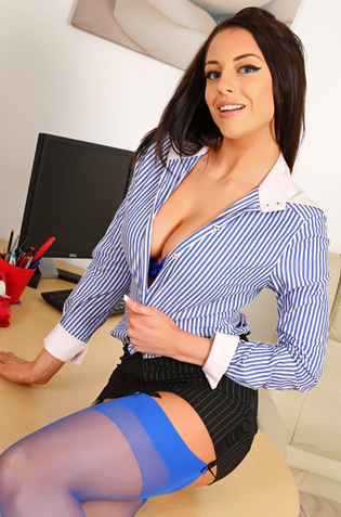 Beautiful Secretary Jayne M In Hot Blue Lingerie Set