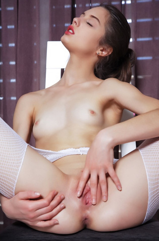Clarice In Sexy White Fishnet