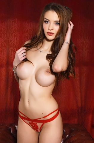 Emelia Paige Strips Off Her Red Bra And Panties